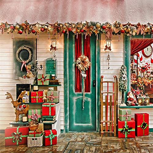 AOFOTO 6x6ft Front Door Christmas Store Backdrop Holiday Ornament Gift Shop Photography Background Chic Garland Wreath Xmas Tree Reindeer Sled Santa Clause Lantern New Year Decor Vinyl Wallpaper ()