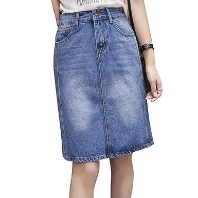 33097d6ad3da5e Amazon | デニムスカート デニム スカート タイト スリット ひざ丈 ミディアム 膝丈 ネイビー ブルー S M L XL XXL 全2色 |  スカート 通販