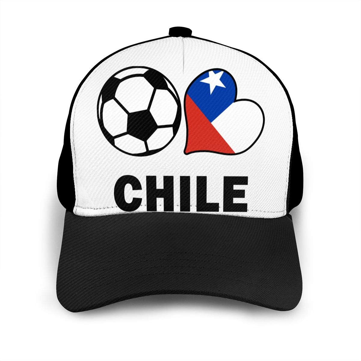 Y94OIW@MAO Soccer Heart Football Chile Flag Baseball Cap for Men and Women Cotton Mountaineering Cap