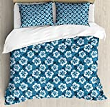 Blue Queen Size Duvet Cover Set by Ambesonne, Pattern of Hawaiian Hibiscus Flowers and Leaves Exotic Hawaii Island Nature, Decorative 3 Piece Bedding Set with 2 Pillow Shams, Petrol Blue Pale Blue
