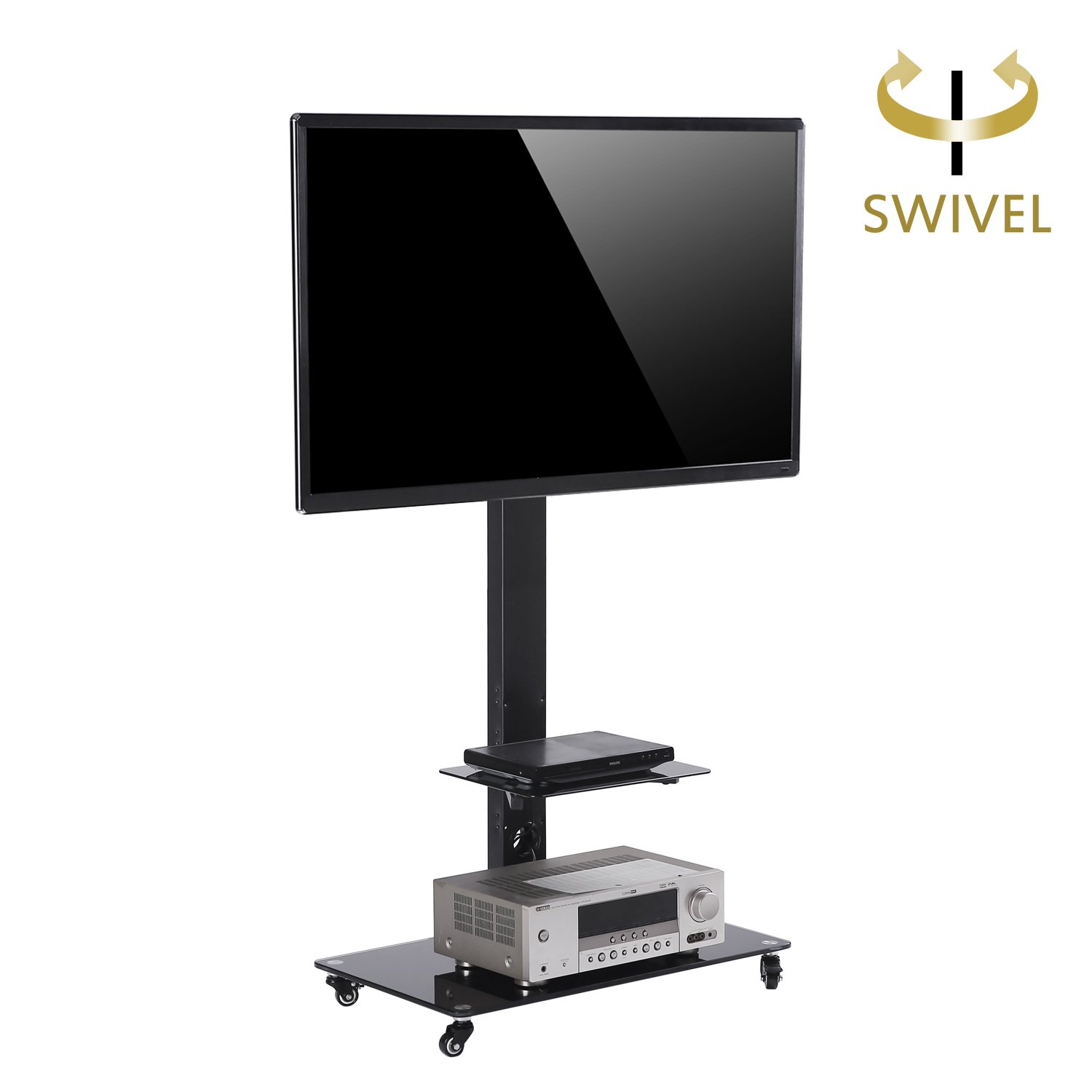 TAVR Moblile Floor TV Stand Cart with Audio Shelf and Heavy Duty Lockable Caster Wheels, for 37 to 70 inch LCD LED Oled Qled Flat Panel and Curved TVs ,TF5001 …