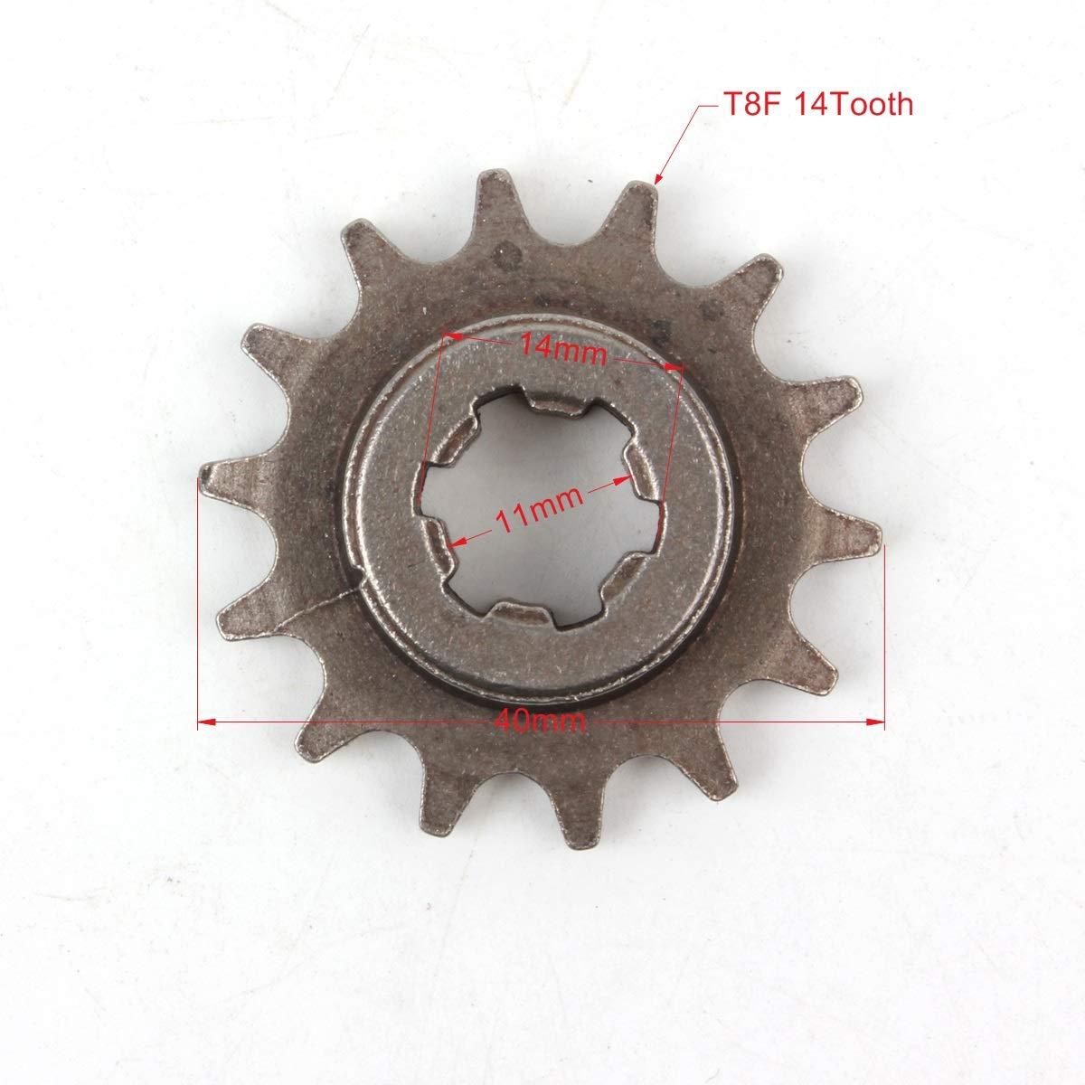 PRO CAKEN T8F 14T Front Pinion Clutch Gear Box Chain Sprocket 47cc 49cc Dirt Bike Minimoto T8F Pitch 14 Teeth