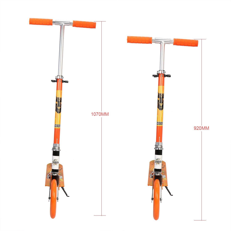 Patinete Cimiva Patinete pegable Carga 100KG Altura 107cm, Color Naranja/Verde