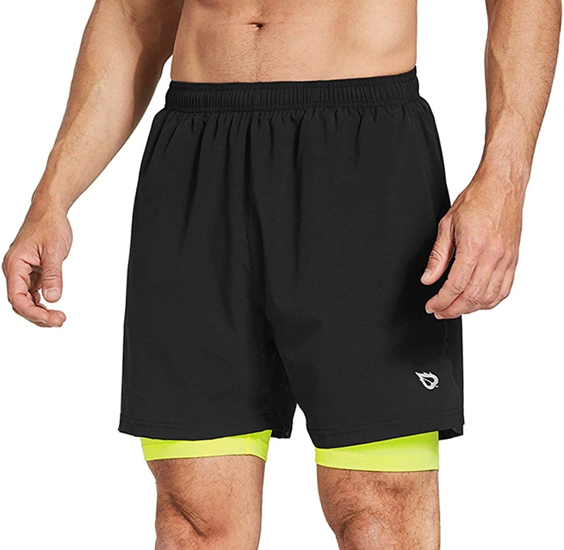 XFLnaraz Mens 2 in 1 Sports Shorts Quick-Drying Breathable Running Shorts Casual Double Layer Gym Shorts with Pocket