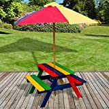 Marko Outdoor Marko Kids Children Garden Picnic Table Bench Parasol Umbrella Set Rainbow Wood