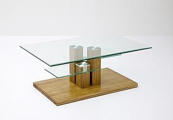 Couchtisch Beistelltisch Glas Eiche Asteiche Massiv Mit Ablage