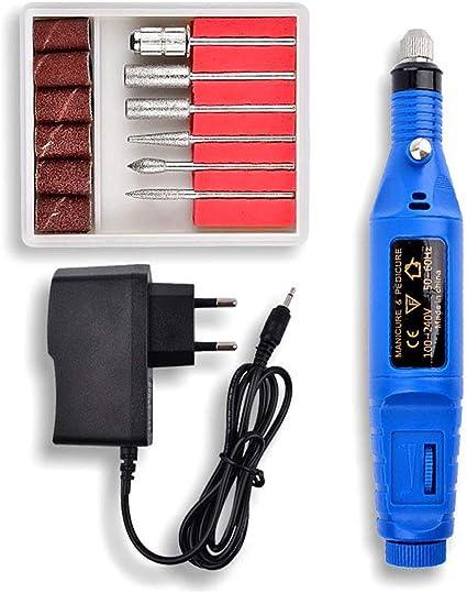 Q-HL Pulidor de uñas, Máquina de limado de uñas 6 en 1: kit de brocas de pedicura para manicura profesional para geles acrílicos (20000 rpm) (color : Azul): Amazon.es: Belleza