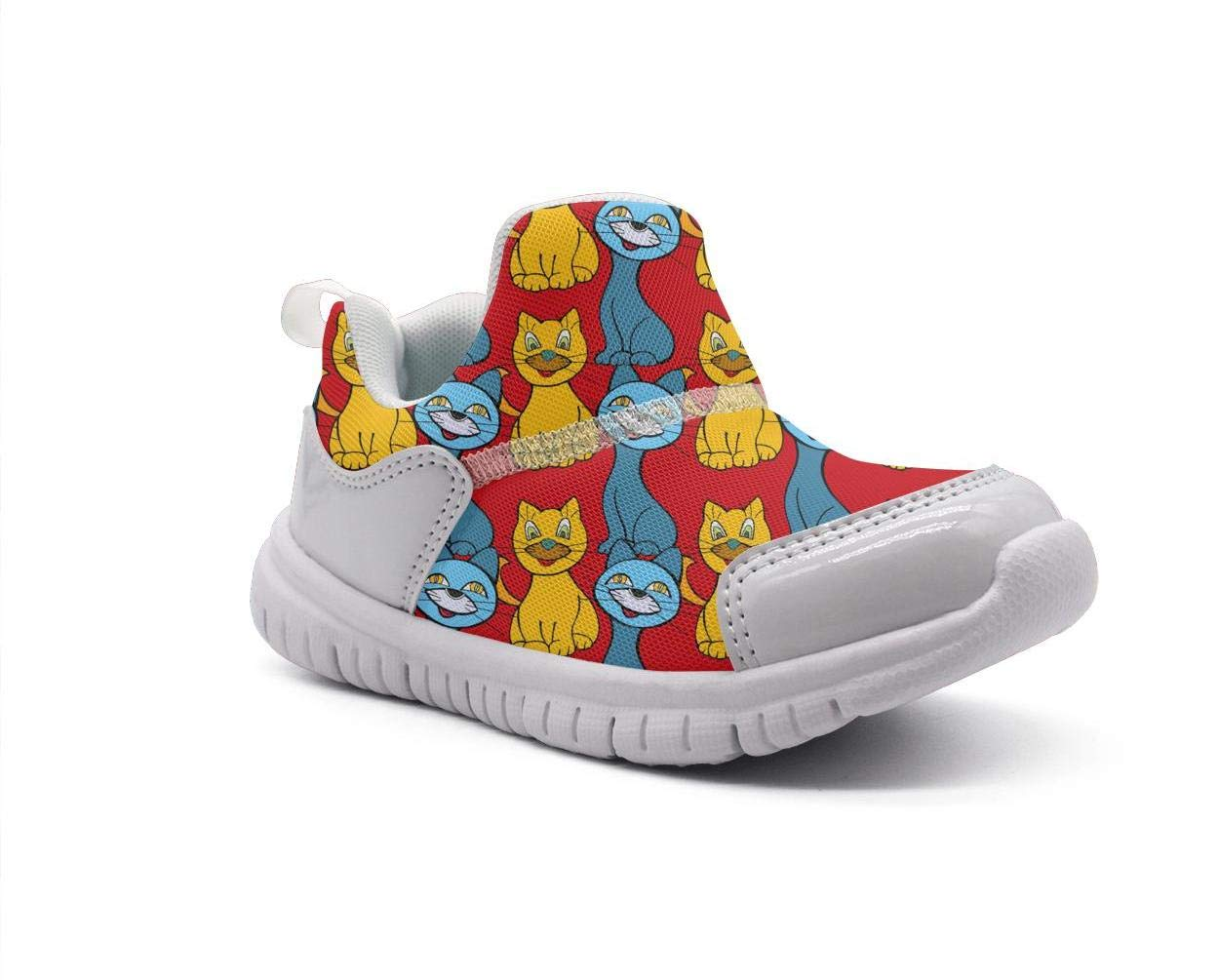 ONEYUAN Children Cute Cartoon Cats Red Background Kid Casual Lightweight Sport Shoes Sneakers Walking Athletic Shoes