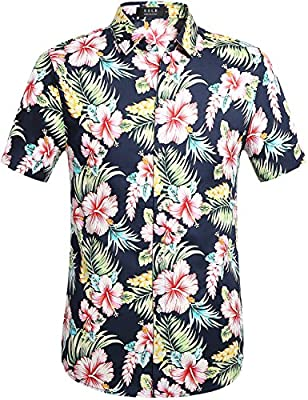 SSLR Men's Cotton Button Down Short Sleeve Hawaiian Shirt
