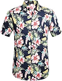 Men's Flower Casual Button Down Short Sleeve Shirt