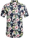 SSLR Men's Flower Casual Button Down Short Sleeve Shirt (Small, Navy(102))