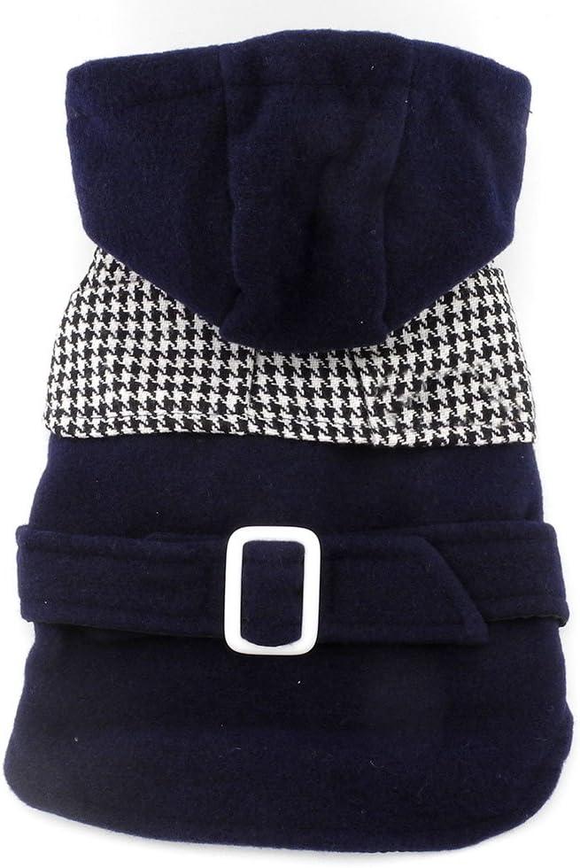 معطف للكلاب من سمولي-لكي-ستور، بغطاء رأس بتصميم تشارمد من الصوف الصناعي للتدفئة في الشتاء، لون أزرق، حجم XL