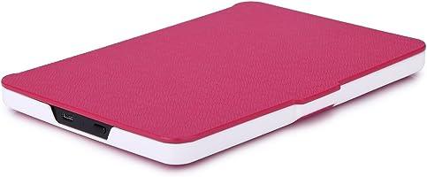 Capa para Kindle Básico da 8a geração - Rígida - Fecho Magnético - Hibernação - Base Branca (pink)