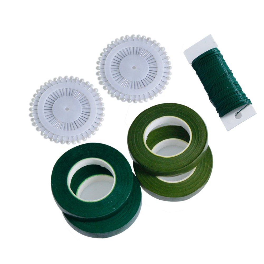 4 Packs Floral Arrangement Kit 1/2 inch Floral Tape,26 Gauge Floral Wire and 80 Pieces Ball Head Pins.