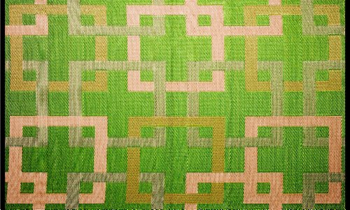 Outdoor Rug Patio Mat - (4ft x 6ft) - Squares, Reversible Design in Green and Beige as Outdoor Area Rug- by b.b.begonia by b.b.begonia