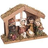 9674a99382a Belén de Navidad con Portal de Resina marrón rústico para decoración  navideña Christmas…