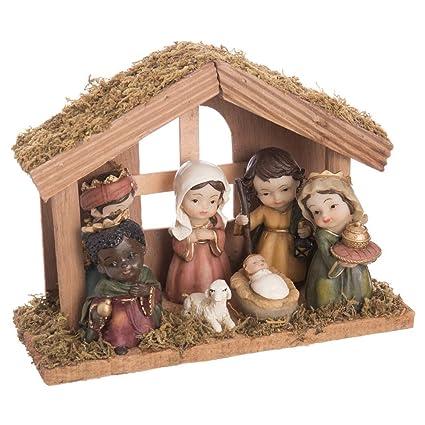 9c374d5c348 Belén de Navidad con Portal de Resina marrón rústico para decoración  navideña Christmas - LOLAhome