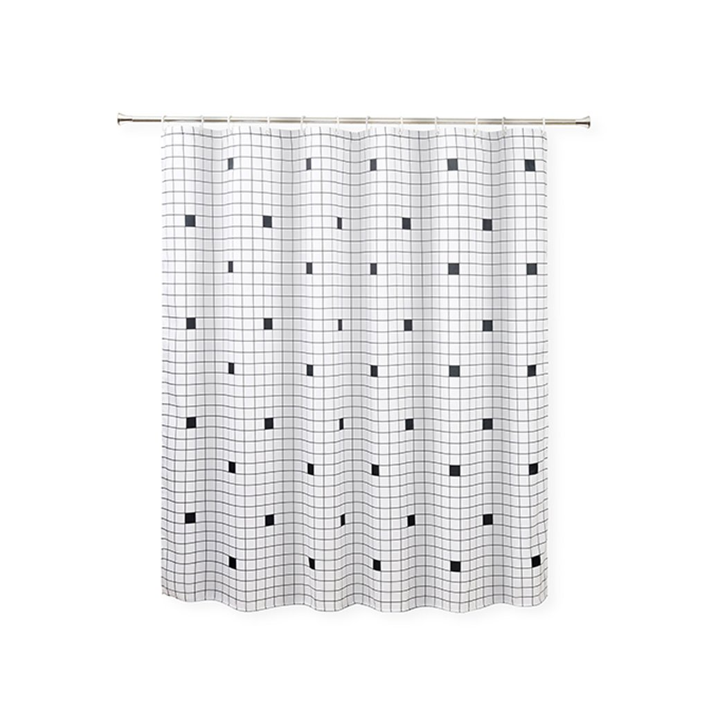 Curtain European Style,Black Dingy Lattice Shower Curtain, Mildew Waterproof, Polyester Thickened Shower Curtain Shower Equipment (Size : 200180cm)