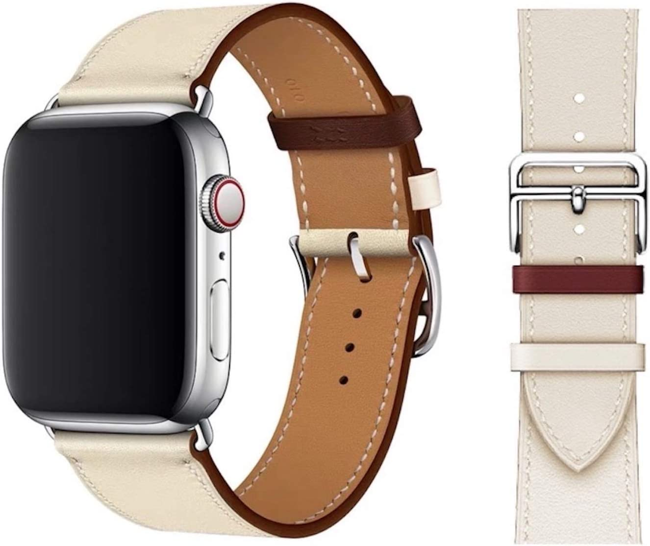 NDegreez French Barenia Calfskin Leather Band Compatible with Apple Watch 38mm 40mm, Replacement Bands for Apple iWatch Series 1/2/3/4/5/6/SE for Men and Women (Craie, 38/40mm)