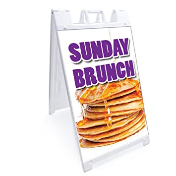 Amazon.com: A-frame Sunday Brunch Sign With Graphics On Each Side ...