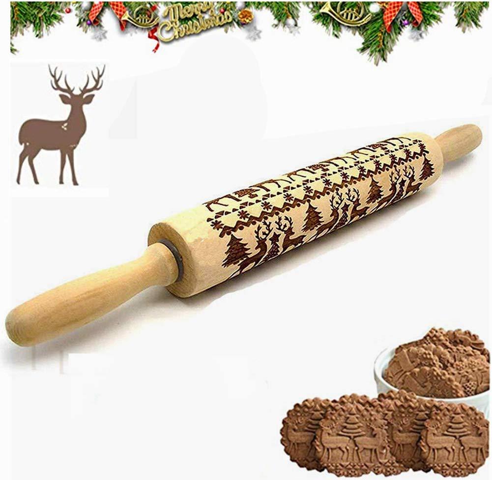 DankeSh Christmas Rolling Pins, Wood Embossed Rolling Pin Christmas Embossing Rolling Pin 3D Rolling Pin for Holiday Cookies Baking (#1) by DankeSh