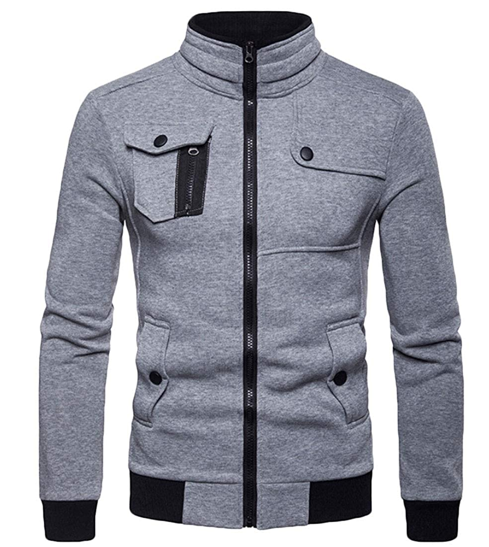 Keaac Mens Casual Half Zip Slim Cardigan Turtleneck Solid Color Warm Leisure Jacket