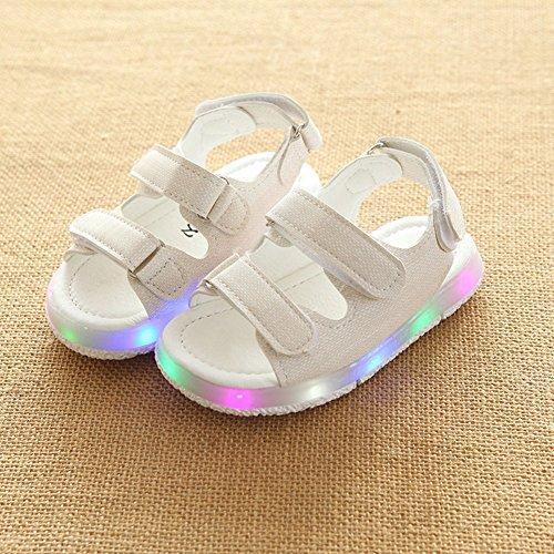 Las sandalias de las muchachas de los muchachos del niño ligero iluminan para arriba los zapatos negro