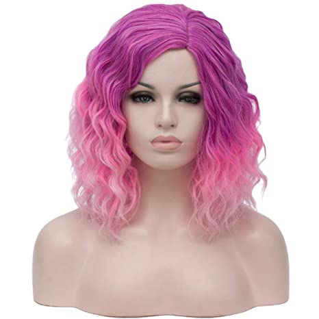 """Beauwig 14"""" Short Bob Wavy Curly Purple Ombre Pink Wig For Women Cosplay Halloween Come With Wig Cap (Purple Ombre Pink) by Beauwig"""
