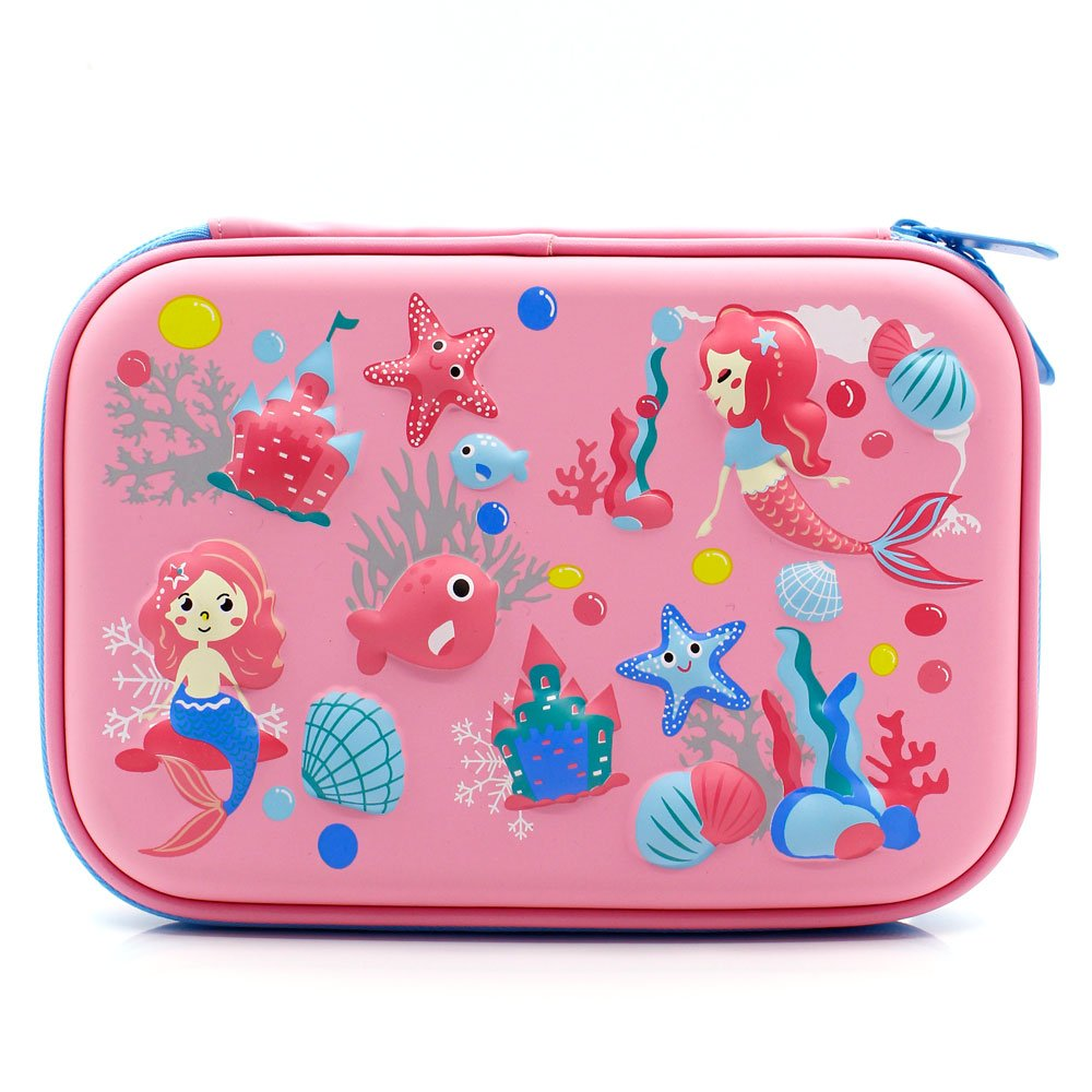 Mermaid Big Capacity Hardtop Pencil Case with Compartment - Cute School Stationery Supply Organizer Box Pen Holder for Kids Girls Toddlers (Light Pink)