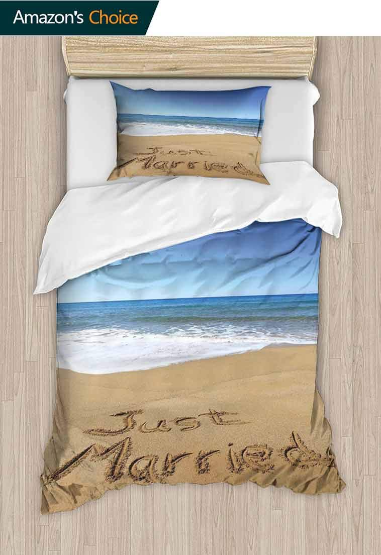 Wedding Printed Duvet Cover and Pillowcase Set, Just Married Written on Sandy Beach Ocean Waves Romantic Photo Celebration, Reversible Coverlet, Bedspread, Gifts for Girls Women, 79 W x 90 L Inches