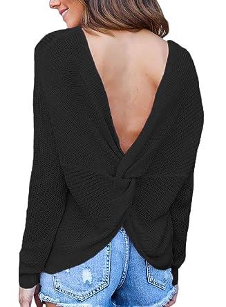 dearlove women s sweatheart neck knot deep v back knit sweater