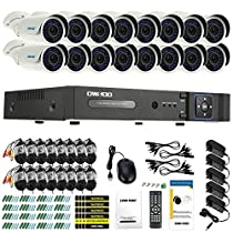 OWSOO 16CH AHD 720P 1500TVL CCTV Surveillance DVR Security System HDMI P2P Cloud Onvif Network Digital Video Recorder + 16720P Outdoor/Indoor Infrared Bullet Camera + 1660ft Cable support IR-CUT
