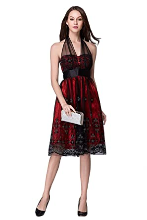 Luxy Women\'s Halter Red 3d Lace Wedding Prom Dress Short at Amazon ...