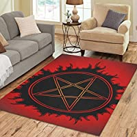 InterestPrint Floor Rugs Mat Custom Black Pentagram Area Rugs Modern Carpet for Home Dining Room Living Room Decoration Size 7x5