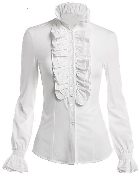 38c832658e1 Mosocow Women s Vintage Victorian Ruffle Long Sleeve Shirt Blouse Tops at  Amazon Women s Clothing store