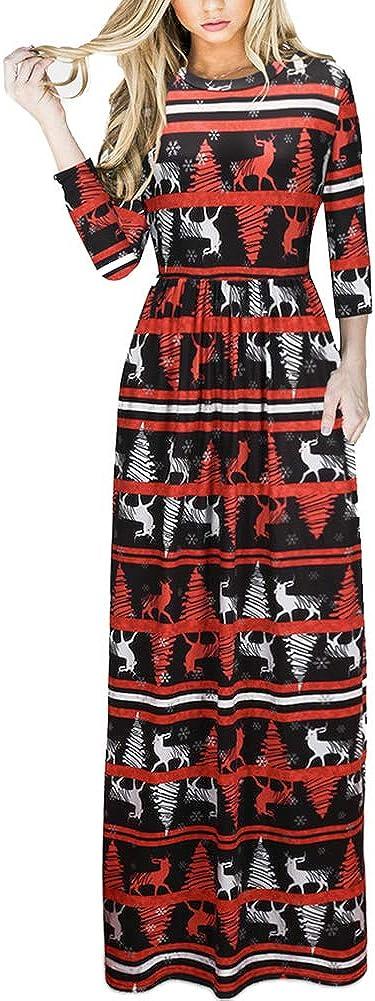 TALLA (EU50-52)3XL. Lover-Beauty Vestido Largo Floral Print Casual para Noche Fiesta Playa Fiesta Manga Larga Cuello Redondo Vestido Verano Cuello V Multicolor 6 (EU50-52)3XL