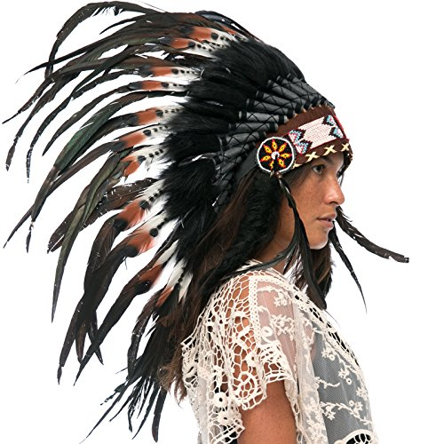[Feather Headdress- Native American Indian Inspired- Handmade Halloween Costume for Men Women with Real Feathers - DOUBLE FEATHER Brown] (India Costume Female)
