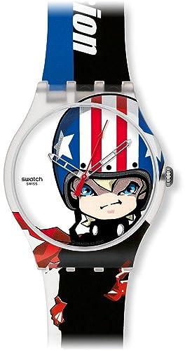 Swatch SUOZ109 - Reloj analógico infantil de cuarzo con correa de silicona multicolor: Amazon.es: Relojes