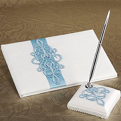 KateMelon Blue Scroll Wedding Guest Book and Pen Set