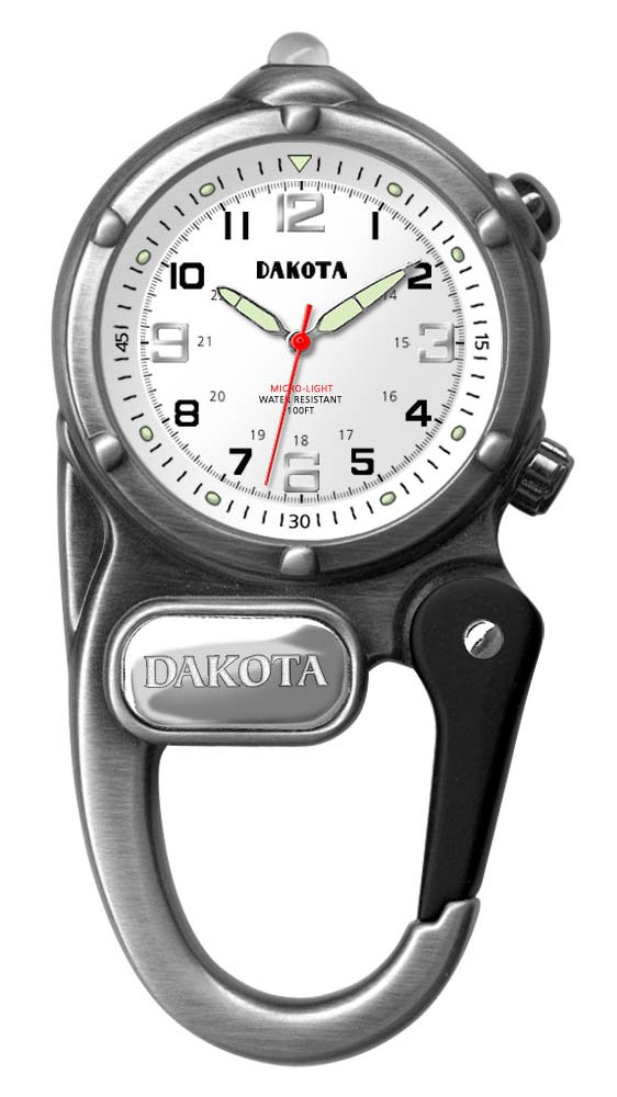 Dakota Clip Watch With LED Flashlight, Mini Clip Microlight Watch by, Antique Silver