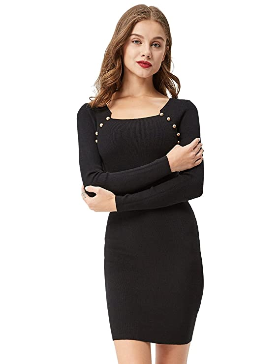 Ladies Long Sleeve Sweater Dresses | Crew Neck Sweater Dress | Cute Sweater Dresses Women