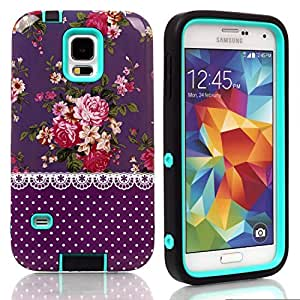S5 Case, Galaxy s5 Case,Samsung Galaxy S5, New, Magicsky Samsung S5 Cover with Purple Flower Pattern Full Body Hybrid Impact Shockproof Defender Case Cover for Samsung Galaxy S5 SV, 1 Pack(Purple Flower/Cyan)