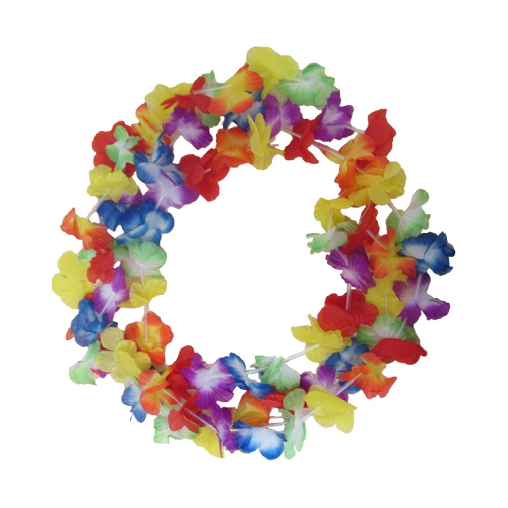 Multi Colored Hawaiian Luau Tropical Flower Lei Garland Party