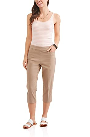 c0b298c2d028 Time and Tru Women's Khaki Pull On Capri Pants for Casual or Career (Small 4