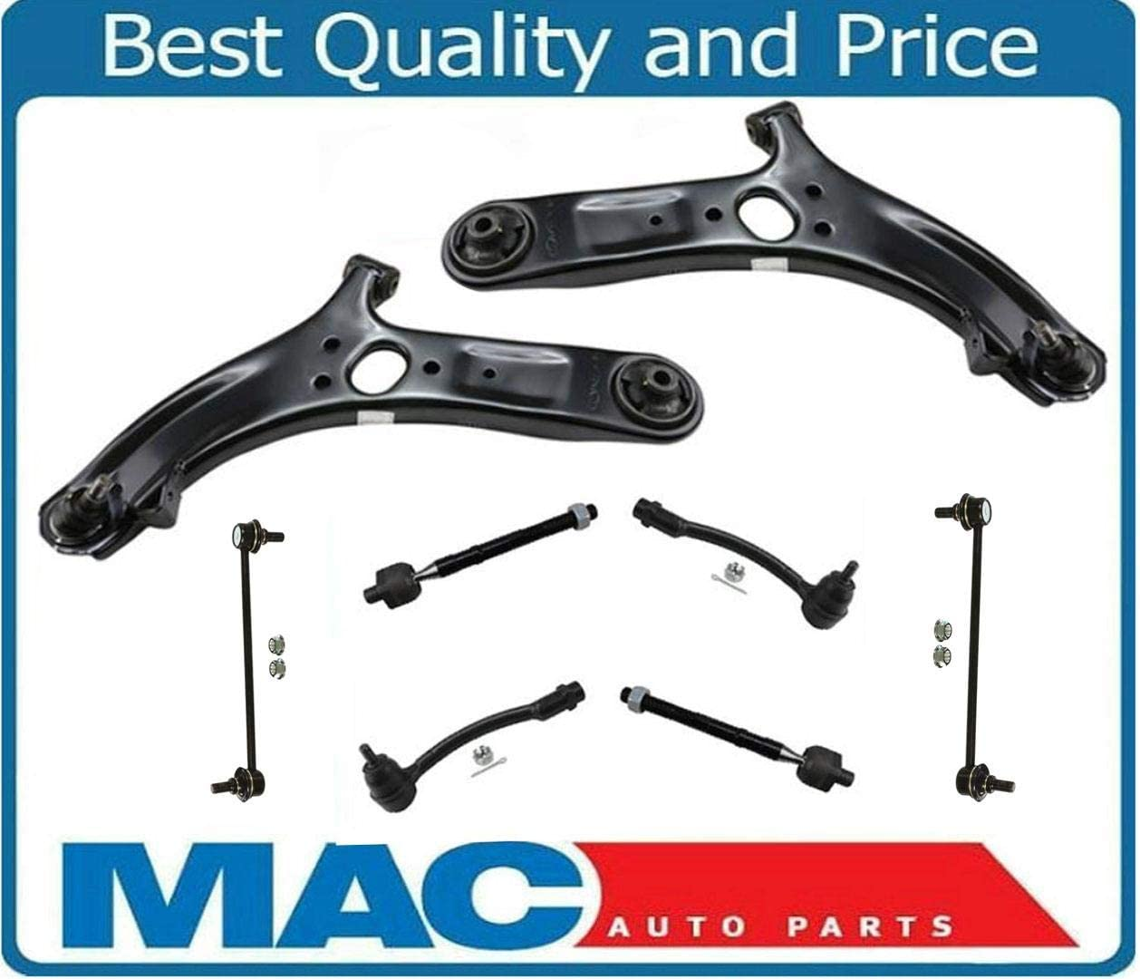 Accent 12-16 Control Arm Ball Joint Tie Rods Sway Bar Link Suspension Kit 8PCS