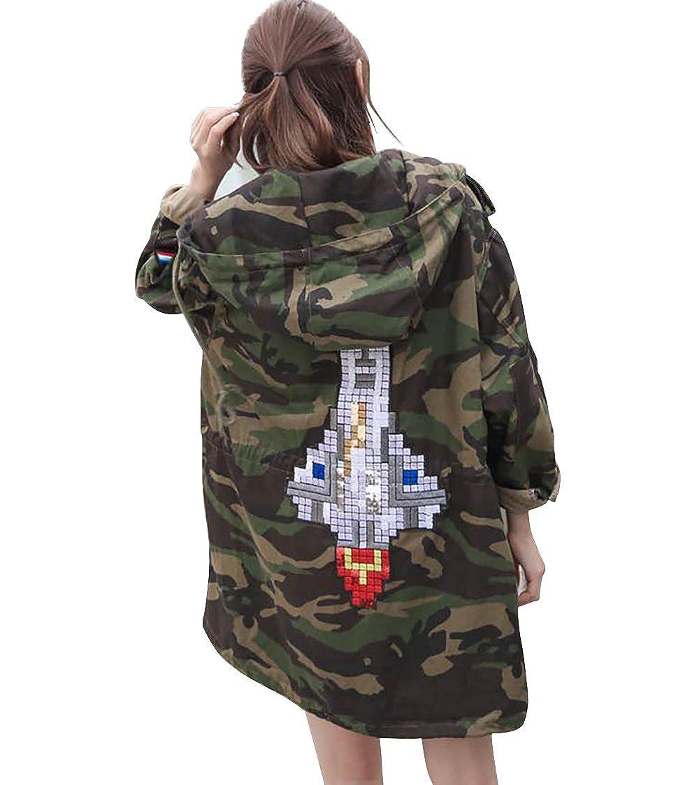 LAI MENG FIVE CATS Women's Camo Buttons Zipper Lapel Long Sleeves Loose Hood Jacket Coat Army Green