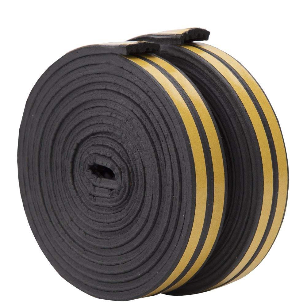 Cinta adhesiva de 10 m para sellar puertas y ventanas 4 rollos en total 10 m 9 mm x 4 mm x 2,5 m negro