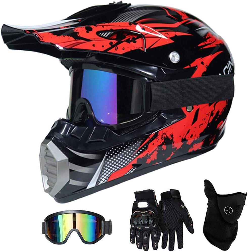 MT-51 Full Face Off-Road Motorrad Cross Helme mit Visier Brille Maske Handschuhe Motorbike ATV MTB Freien Sport Motorcycle Helmet Set QYTK/® Motorradhelm Motocross Helm Kinder Rot Schwarz