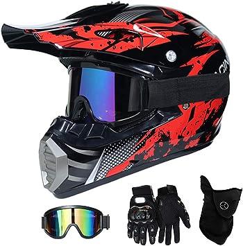QYTK® Casco Motocross Niño Rojo Negro, MT-51 Full Face Motorcycle Cross Helmet Casco Motocicleta con Gafas Guantes Mascarilla, Al Aire Libre Motorbike ATV MTB Racing Seguridad Set,L(56~57CM): Amazon.es: Deportes y aire libre
