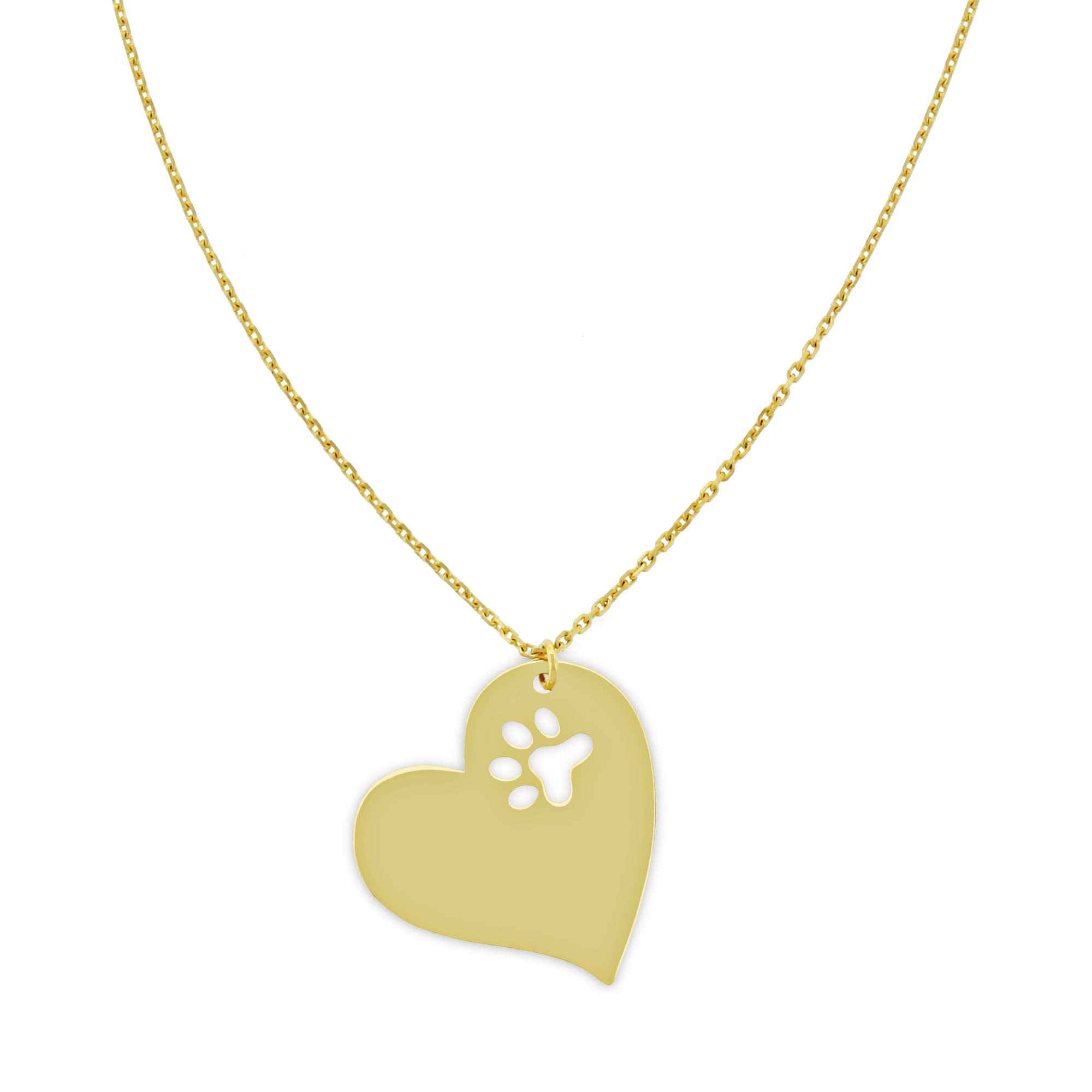 Charm America Gold Dog Paw Inside Heart Adjustable Necklace - 14 Karat Solid Gold by Charm America